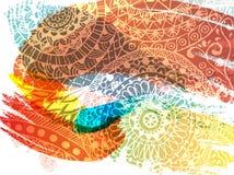 Ευτυχές Holi σχέδιο εμβλημάτων φεστιβάλ διανυσματικό με την εγγραφή, τους παφλασμούς χρωμάτων και το mehndi Στοκ Φωτογραφία