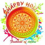 ευτυχές holi Όμορφο ζωηρόχρωμο mandala Στοιχείο σχεδίου για το φεστιβάλ της άνοιξη και των χρωμάτων Στοκ Εικόνες