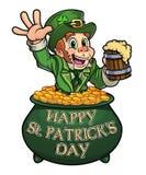 Ευτυχές Leprechaun με την μπύρα στο καζάνι απεικόνιση αποθεμάτων