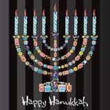 ευτυχές menorah μπισκότων hanukkah διανυσματική απεικόνιση