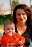ευτυχές mom μωρών Στοκ φωτογραφία με δικαίωμα ελεύθερης χρήσης