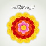 Ευτυχές Pongal, εορτασμοί φεστιβάλ συγκομιδών με το ζωηρόχρωμο λουλούδι ελεύθερη απεικόνιση δικαιώματος