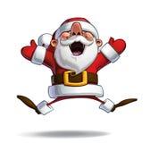 Ευτυχές Santa - που πηδά στο Ecstasy με τα ανοικτά χέρια Στοκ φωτογραφία με δικαίωμα ελεύθερης χρήσης