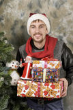 ευτυχές santa δώρων Claus Στοκ Εικόνες