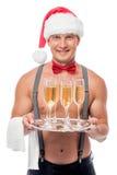 Ευτυχές stripper ως ο σερβιτόρος Στοκ Φωτογραφίες