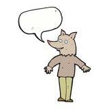 ευτυχές werewolf κινούμενων σχεδίων με τη λεκτική φυσαλίδα Στοκ Εικόνες