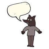 ευτυχές werewolf κινούμενων σχεδίων με τη λεκτική φυσαλίδα Στοκ Εικόνα