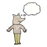 ευτυχές werewolf κινούμενων σχεδίων με τη σκεπτόμενη φυσαλίδα Στοκ Φωτογραφία