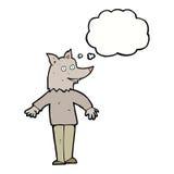 ευτυχές werewolf κινούμενων σχεδίων με τη σκεπτόμενη φυσαλίδα Στοκ Εικόνα