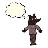 ευτυχές werewolf κινούμενων σχεδίων με τη σκεπτόμενη φυσαλίδα Στοκ φωτογραφία με δικαίωμα ελεύθερης χρήσης