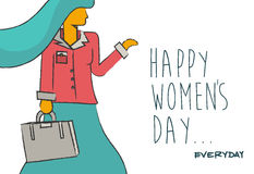 Ευτυχές women& x27 σχέδιο επιχειρησιακής κυρίας ημέρας του s ελεύθερη απεικόνιση δικαιώματος