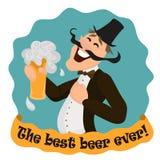 Ευτυχής Άγγλος με το ποτήρι της νόστιμης μπύρας Στοκ φωτογραφίες με δικαίωμα ελεύθερης χρήσης