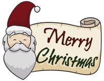 Ευτυχής Άγιος Βασίλης με τον κύλινδρο χαιρετισμού για τον εορτασμό Χριστουγέννων, διανυσματική απεικόνιση διανυσματική απεικόνιση
