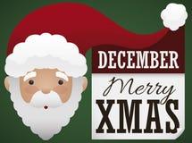 Ευτυχής Άγιος Βασίλης με τους χαιρετισμούς και υπενθύμιση για τα Χριστούγεννα, διανυσματική απεικόνιση απεικόνιση αποθεμάτων