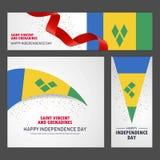 Ευτυχής Άγιος Vincent και έμβλημα ημέρας της ανεξαρτησίας των Γρεναδινών και Β διανυσματική απεικόνιση