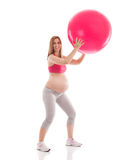 Ευτυχής άσκηση εγκυμοσύνης Στοκ φωτογραφία με δικαίωμα ελεύθερης χρήσης
