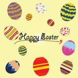 Ευτυχής έννοια αυγών απεικόνισης εικονογράφων Πάσχας διανυσματική Στοκ εικόνα με δικαίωμα ελεύθερης χρήσης