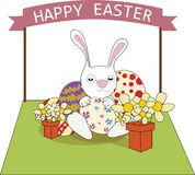 Ευτυχής έννοια αυγών απεικόνισης εικονογράφων Πάσχας διανυσματική Στοκ Εικόνες