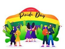 Ευτυχής έννοια ημέρας υπερηφάνειας με τα λεσβιακά και ομοφυλοφιλικά ζεύγη διανυσματική απεικόνιση