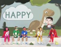 Ευτυχής έννοια φαντασίας παιδικής ηλικίας παιδιών παιδιών διανυσματική απεικόνιση