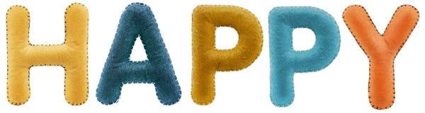 Ευτυχής λέξη από τις πολύχρωμες επιστολές που απομονώνεται στο άσπρο υπόβαθρο Στοκ Εικόνα