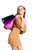 ευτυχής έφηβος αγοραστών στοκ εικόνες