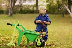 Ευτυχής λίγο μικρό παιδί με ένα καροτσάκι παιδιών ` s, παιχνίδι αγοράκι το φθινόπωρο στον περίπατο φύσης υπαίθρια Στοκ Φωτογραφία