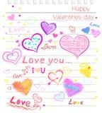Ευτυχής αγάπη ημέρας βαλεντίνων, περιγραμματικό σημειωματάριο καρδιών διανυσματική απεικόνιση