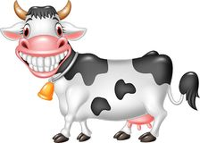 Ευτυχής αγελάδα κινούμενων σχεδίων που απομονώνεται στο άσπρο υπόβαθρο απεικόνιση αποθεμάτων