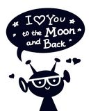 Ευτυχής αλλοδαπός χαρακτήρας με σ' αγαπώ στο φεγγάρι και την πλάτη Στοκ Εικόνα