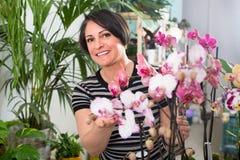 Ευτυχής ανθοκόμος γυναικών που παρουσιάζει πολύχρωμα λουλούδια phalaenopsis στοκ εικόνες με δικαίωμα ελεύθερης χρήσης
