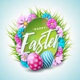 Ευτυχής απεικόνιση διακοπών Πάσχας με το χρωματισμένο αυγό, το λουλούδι και την πράσινη χλόη στο άσπρο υπόβαθρο Διάνυσμα διεθνές Στοκ Εικόνα