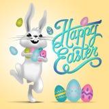 Ευτυχής απεικόνιση καρτών Πάσχας με τα αυγά Πάσχας, λαγουδάκι Πάσχας διανυσματική απεικόνιση