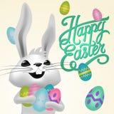 Ευτυχής απεικόνιση καρτών Πάσχας με τα αυγά Πάσχας, λαγουδάκι Πάσχας απεικόνιση αποθεμάτων