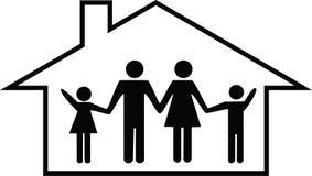 Ευτυχής απεικόνιση οικογενειακών κατοικιών/σπιτιών Στοκ Φωτογραφίες
