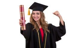 Ευτυχής απόφοιτος φοιτητής που κρατά ένα δίπλωμα απομονωμένο στο άσπρο υπόβαθρο Στοκ εικόνες με δικαίωμα ελεύθερης χρήσης