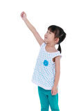 Ευτυχής ασιατική εκμετάλλευση παιδιών κάτι χειρονομία Απομονωμένος στο λευκό Στοκ Εικόνες