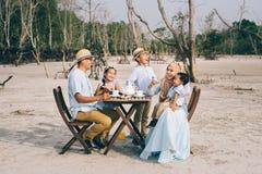 Ευτυχής ασιατική οικογένεια που έχει μια καλή στιγμή του πικ-νίκ ευτυχίας υπαίθρια Στοκ εικόνες με δικαίωμα ελεύθερης χρήσης