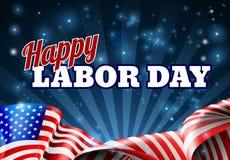 Ευτυχής αφίσα αμερικανικών σημαιών Εργατικής Ημέρας διανυσματική απεικόνιση