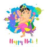 Ευτυχής αφίσα διακοπών Holi με το Λόρδο Ganesha God Ζωηρόχρωμη επίπεδη απεικόνιση ύφους κινούμενων σχεδίων ελεύθερη απεικόνιση δικαιώματος