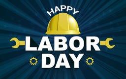 Ευτυχής αφίσα Εργατικής Ημέρας με το κίτρινο κράνος ασφάλειας διανυσματική απεικόνιση