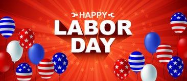 Ευτυχής αφίσα μπαλονιών αμερικανικών σημαιών Εργατικής Ημέρας ελεύθερη απεικόνιση δικαιώματος