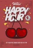 Ευτυχής αφίσα ώρας για τη διαφήμιση Απεικόνιση κερασιών Κωμικό Ι Στοκ εικόνες με δικαίωμα ελεύθερης χρήσης