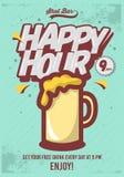 Ευτυχής αφίσα ώρας για τη διαφήμιση Απεικόνιση κουπών μπύρας κωμικός Στοκ Εικόνες
