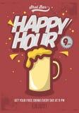 Ευτυχής αφίσα ώρας για τη διαφήμιση Απεικόνιση κουπών μπύρας κωμικός Στοκ Φωτογραφία