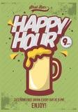 Ευτυχής αφίσα ώρας για τη διαφήμιση Απεικόνιση κουπών μπύρας κωμικός Στοκ φωτογραφίες με δικαίωμα ελεύθερης χρήσης