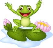 Ευτυχής βάτραχος κινούμενων σχεδίων που πηδά σε έναν κρίνο νερού Στοκ Εικόνες
