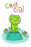 Ευτυχής βάτραχος σε μια απεικόνιση βράχου Στοκ Φωτογραφίες
