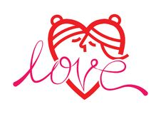 ευτυχής βαλεντίνος ημέρ&alpha σύμβολο φιλήματος αγάπης Στοκ Φωτογραφίες