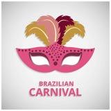 Ευτυχής βραζιλιάνα ημέρα καρναβαλιού Ρόδινη μάσκα καρναβαλιού και ζωηρόχρωμο Φε Στοκ εικόνες με δικαίωμα ελεύθερης χρήσης